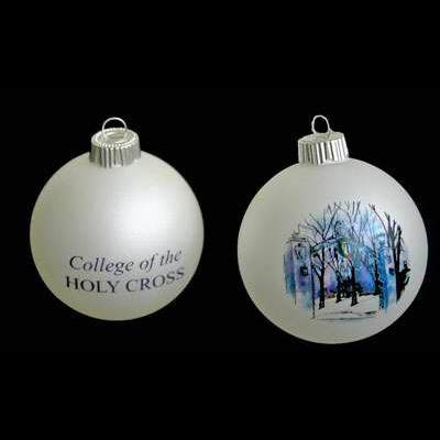 Image For White Frosted Glass Ball Ornament 86793