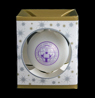 Image For Holy Cross White Glass Ball Ornament 7051997054